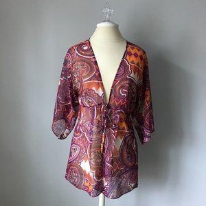 CABI Multi Color Epic Tunic Wrap Top S Kimono 841